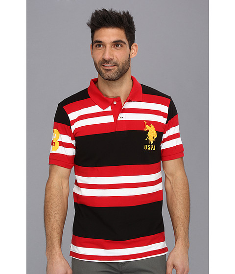 Imbracaminte Barbati US Polo Assn Multi Colored Striped Polo with Big Pony Engine Red