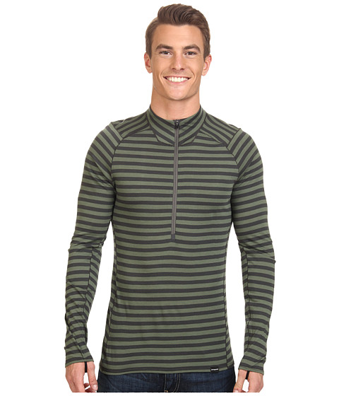 Imbracaminte Barbati Patagonia Merino 2 Lightweight Zip Neck Pearson Stripe Camp Green