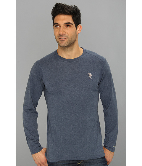 Imbracaminte Barbati US Polo Assn Heathered Active Long Sleeve Crew Neck Classic Navy