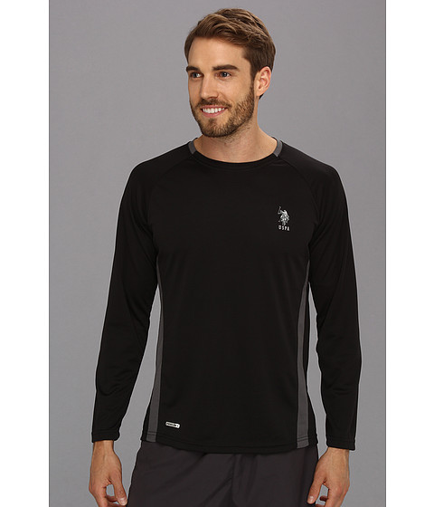 Imbracaminte Barbati US Polo Assn Micro Mesh Long Sleeve Raglan Crew Neck Black