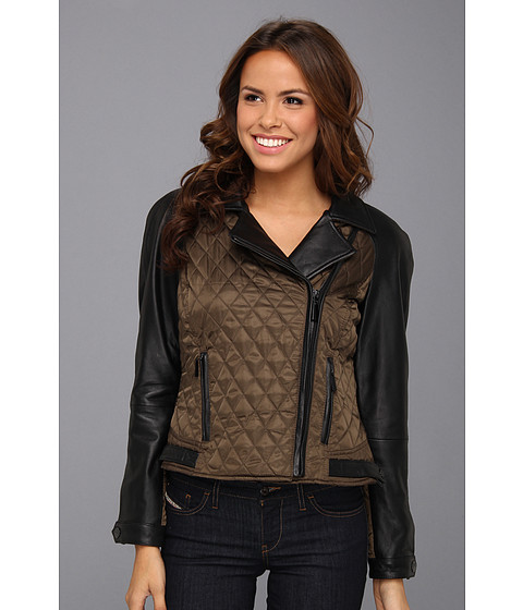 Imbracaminte Femei Vince Camuto Quilted Leather and Fabric Moto Jacket OliveBlack