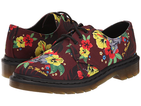 Incaltaminte Femei Dr Martens Lester 3-Eye Shoe Cherry Red Hawaiian Punk T Canvas