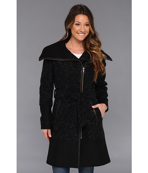 Imbracaminte Femei Cole Haan Asymmetrical Belted Mixed Media Coat Black