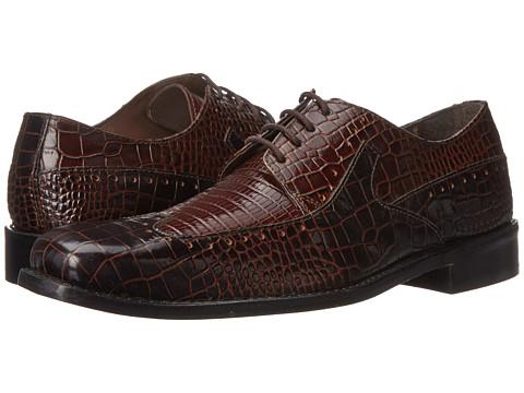 Incaltaminte Barbati Stacy Adams Portello Brown Cognac Crocodile Lizard Print Leather