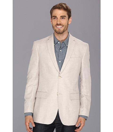 Imbracaminte Barbati Perry Ellis Linen Cotton Herringbone Jacket Natural Linen