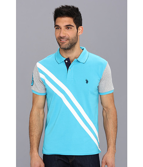 Imbracaminte Barbati US Polo Assn Small Pony Diagonal Stripe Polo w Solid Sleeve Surf Blue