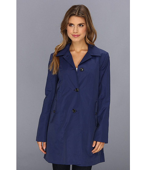 Imbracaminte Femei Cole Haan Single Breasted Raincoat With Button Closure amp Center Back Pleat Marine