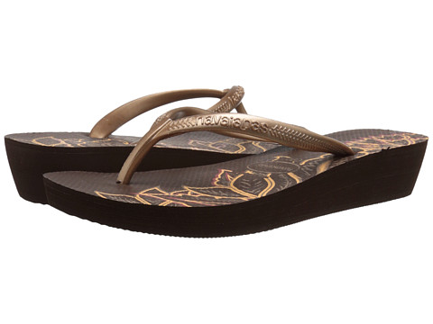Incaltaminte Femei Havaianas High Light II Flip Flops Dark BrownRose Gold