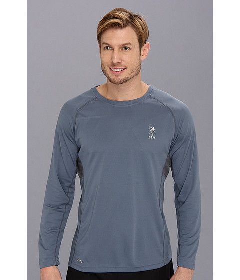 Imbracaminte Barbati US Polo Assn Long Sleeve Paneled Performance Crewneck Raglan With Poly Micro Mesh Insert Blue Slate