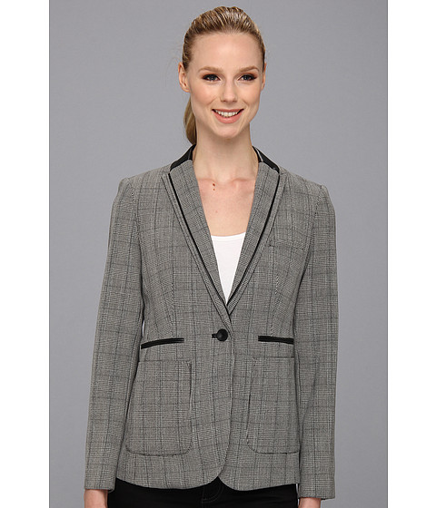 Imbracaminte Femei Vince Camuto Pleather Lapel Glen Plaid Blazer Rich Black
