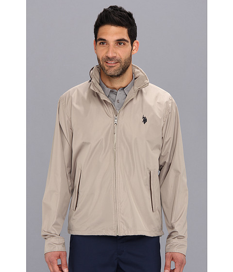 Imbracaminte Barbati US Polo Assn Fleece Lined Golf Jacket with PU Piping Thompson Khaki