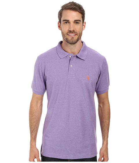 Imbracaminte Barbati US Polo Assn Solid Cotton Pique Polo with Small Pony Tie Purple HeatherFlame Orange