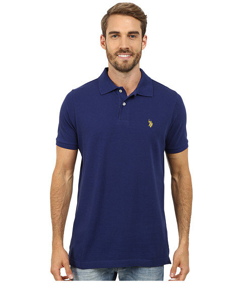 Imbracaminte Barbati US Polo Assn Solid Cotton Pique Polo with Small Pony Marina Blue
