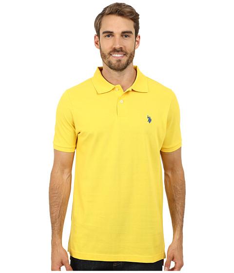Imbracaminte Barbati US Polo Assn Solid Cotton Pique Polo with Small Pony Preppy Yellow