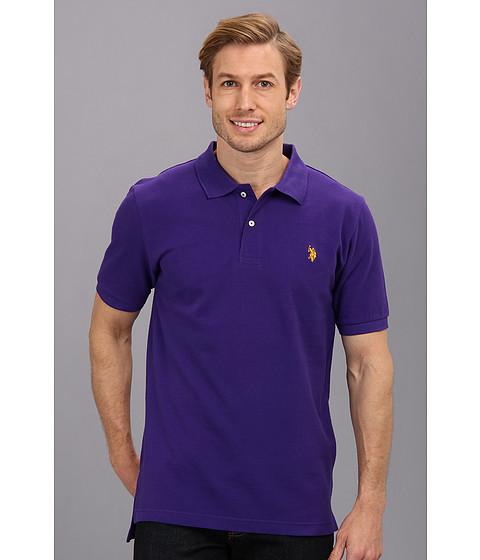 Imbracaminte Barbati US Polo Assn Solid Cotton Pique Polo with Small Pony Dark Violet
