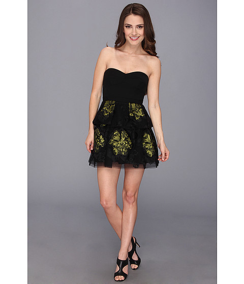 Imbracaminte Femei BCBGMAXAZRIA Petite Tia Embroidered Peplum Dress Black Combo