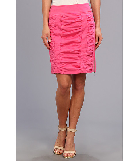 Imbracaminte Femei Christin Michaels Side Zip Rouched Skirt Solid Candy Pink