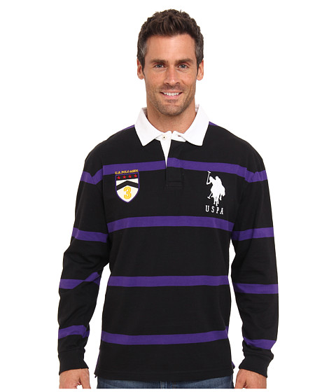 Imbracaminte Barbati US Polo Assn Long Sleeve Stripe Rugby Polo with Patch and Big Pony Logo Black