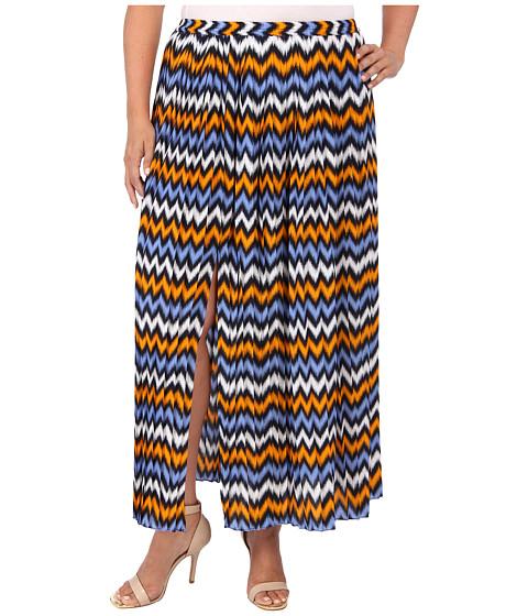 Imbracaminte Femei Michael Kors Plus Size Ikat Pleated Maxi Skirt w Slit Vintage YellowOxford Blue