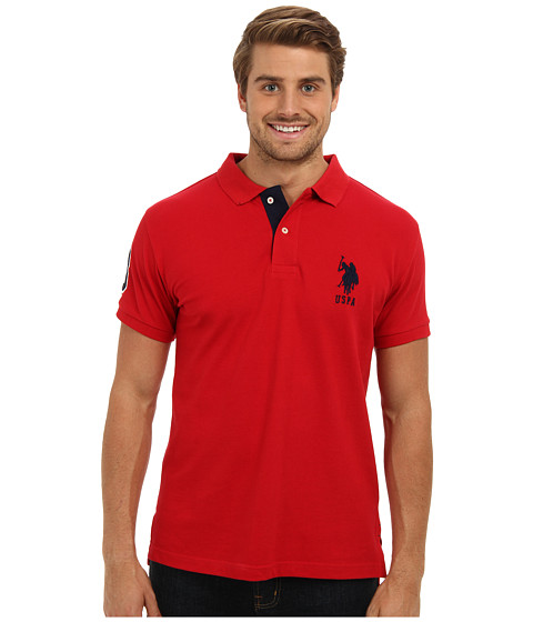 Imbracaminte Barbati US Polo Assn Slim Fit Solid Polo w Contrast Striped Underside of Collar Engine Red