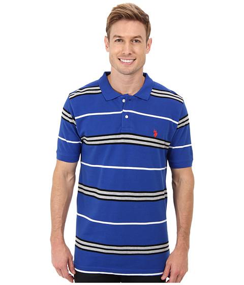 Imbracaminte Barbati US Polo Assn Multistripe Short Sleeve Pique Polo Cobalt BlueHarvest Orange