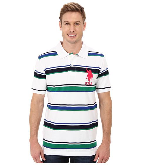 Imbracaminte Barbati US Polo Assn Short Sleeve Cotton Pique Multicolor Stripe Polo White