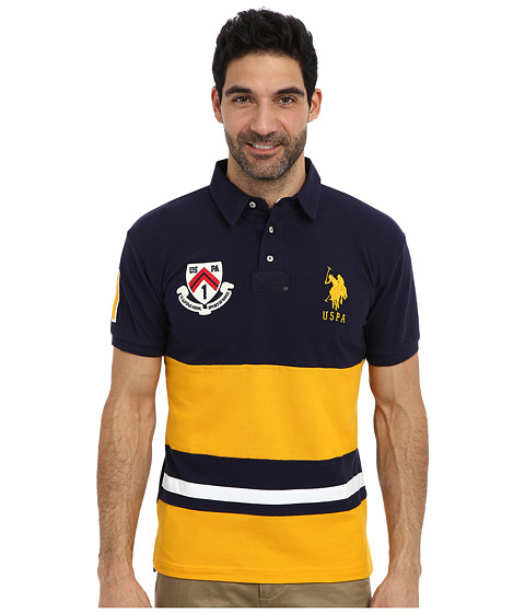 Imbracaminte Barbati US Polo Assn Color Block Slim Fit Number 1 Applique amp Logo Patch Pique Polo Marigold Yellow