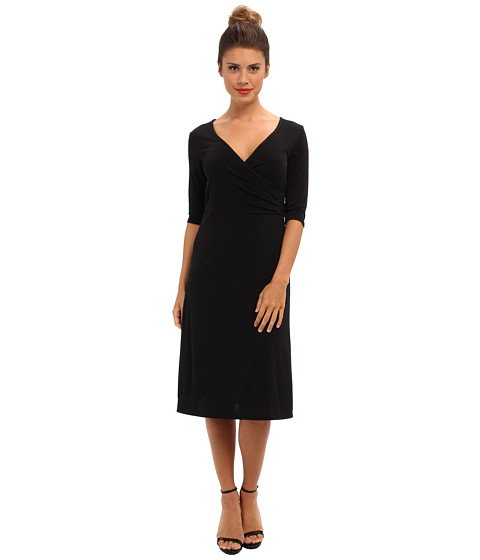 Imbracaminte Femei Christin Michaels Tea Length 34 Sleeve Wrap Dress Black