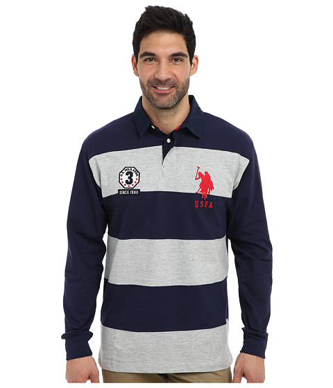 Imbracaminte Barbati US Polo Assn Long Sleeve Stripe and Solid Heavy Weight Jersey Rugby Shirt Heather Gray