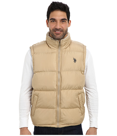 Imbracaminte Barbati US Polo Assn Signature Vest w Sherpa Collar Desert Khaki