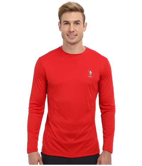 Imbracaminte Barbati US Polo Assn Performance Long Sleeve T-Shirt Engine Red