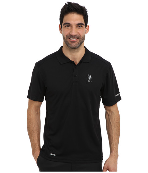 Imbracaminte Barbati US Polo Assn Cage Mesh Vented Peformance Polo Black