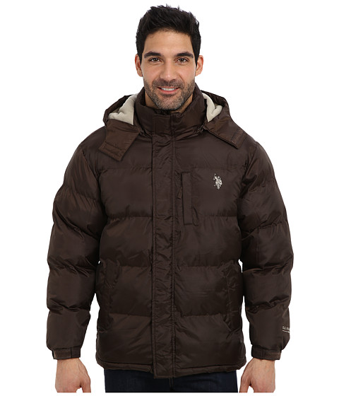 Imbracaminte Barbati US Polo Assn Classic Short Bubble Coat w Small Pony Dark Brown