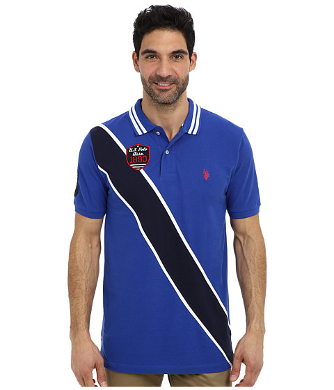 Imbracaminte Barbati US Polo Assn Diagonal Stripes Short Sleeve Pique Polo Cobalt Blue