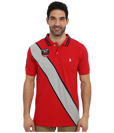 Imbracaminte Barbati US Polo Assn Diagonal Stripes Short Sleeve Pique Polo Engine Red