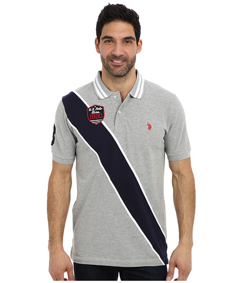 Imbracaminte Barbati US Polo Assn Diagonal Stripes Short Sleeve Pique Polo Heather Gray