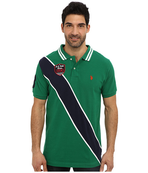 Imbracaminte Barbati US Polo Assn Diagonal Stripes Short Sleeve Pique Polo Hiking Green