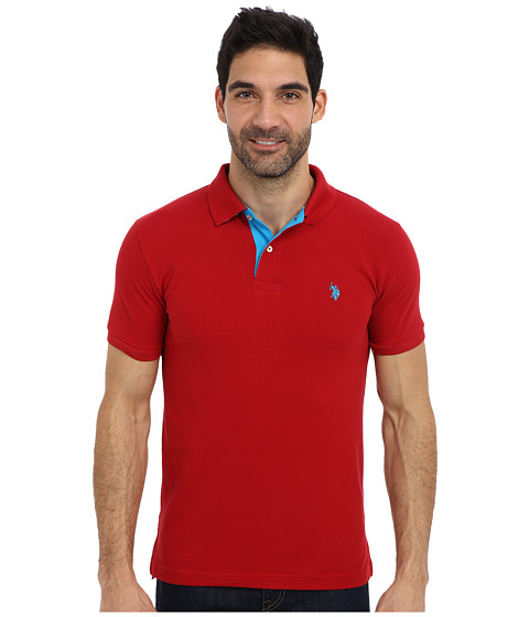 Imbracaminte Barbati US Polo Assn Slim Fit Solid Pique Polo w Contrast Color Striped Under Collar Apple Cinnamon