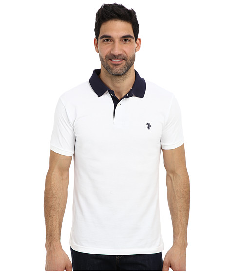 Imbracaminte Barbati US Polo Assn Slim Fit Solid Pique Polo w Contrast Color Striped Under Collar White