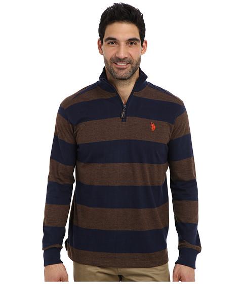 Imbracaminte Barbati US Polo Assn Striped Rib Mock Neck 14 Zip Pullover Brown Heather
