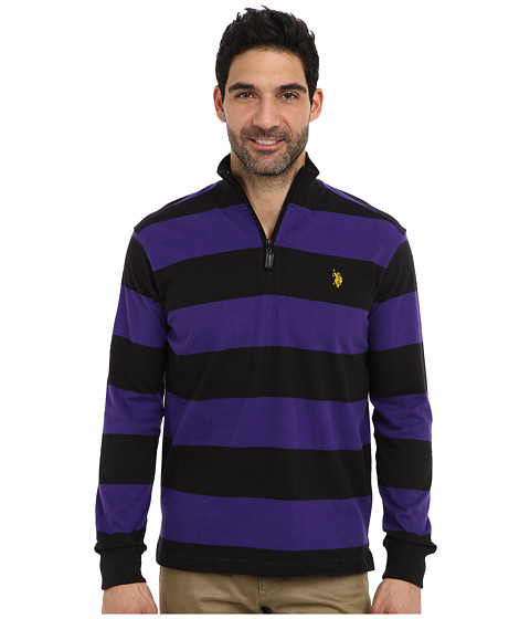 Imbracaminte Barbati US Polo Assn Striped Rib Mock Neck 14 Zip Pullover Dark Violet