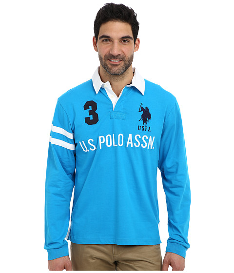 Imbracaminte Barbati US Polo Assn Long Sleeve Heavy Weight Cotton Jersey Rugby Polo Teal Blue
