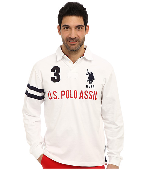 Imbracaminte Barbati US Polo Assn Long Sleeve Heavy Weight Cotton Jersey Rugby Polo White