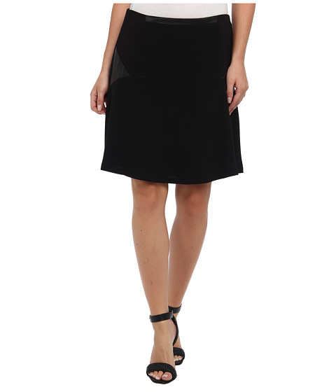 Imbracaminte Femei Vince Camuto Fit amp Flare Skirt w Ponte amp Pleather Inset Rich Black