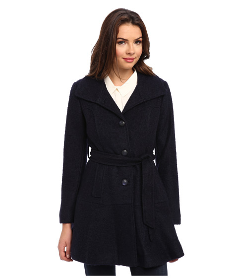 Imbracaminte Femei Jessica Simpson Single Breasted Boucle Coat with Belt Navy