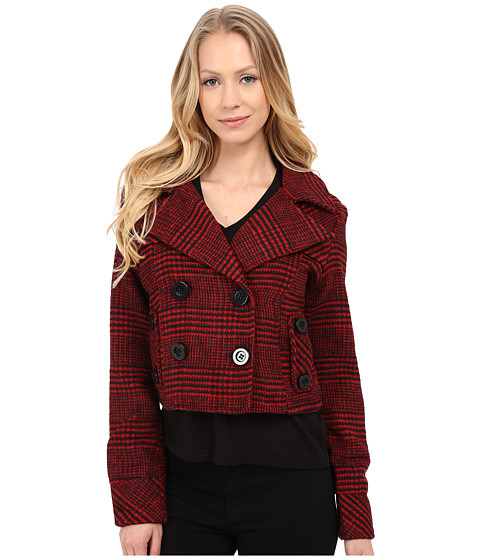 Imbracaminte Femei dollhouse Double Breasted Notch Collar Crop Jacket Dolce Plaid Red