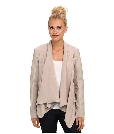 Imbracaminte Femei Blank NYC Draped Vegan Leather and Ponte Jacket in Taupe Taupe
