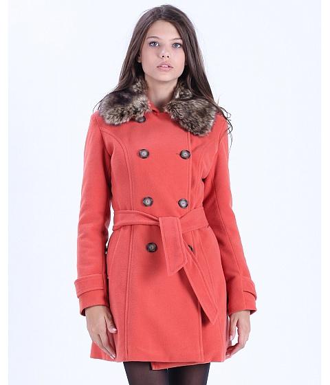 Imbracaminte Femei Be You Palton oranj cu guler din blana ecologica Multicolor
