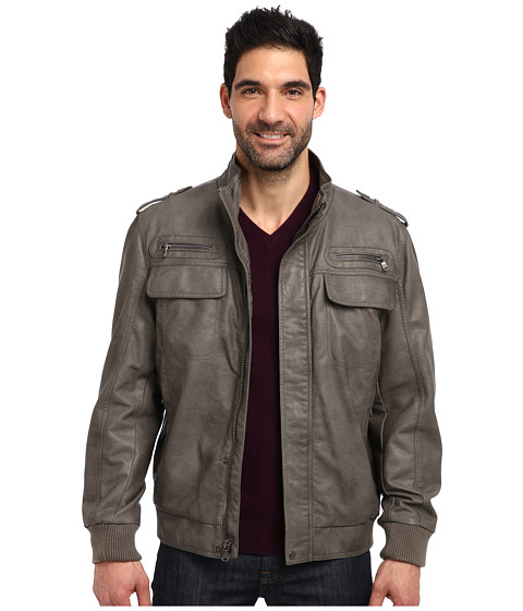 Imbracaminte Barbati Calvin Klein Faux Leather Bomber Jacket CM499264 Grey