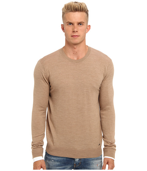 Imbracaminte Barbati DSQUARED2 Runway Wool Crewneck Sweater Camel